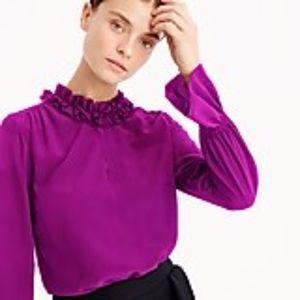 J. Crew magenta ruffle collar LS blouse